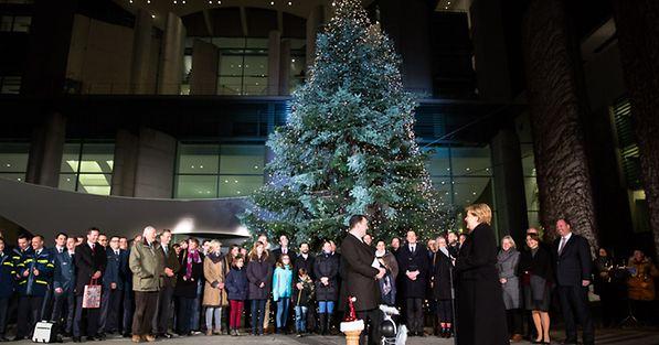 Wo Kommt Der Weihnachtsbaum Her.Bundeskanzlerin Aktuelles Es Grünt Im Kanzleramt